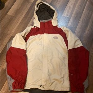 North Face Hooded Hyvent Jacket Cream Red Gray